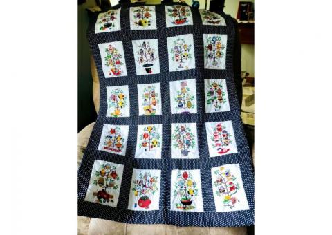 embroidered lap quilt